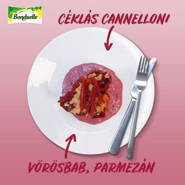 Céklás rakott cannelloni vörösbabbal és parmezánnal