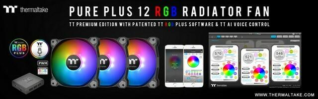 A Thermaltake bemutatja a Pure Plus 12 LED RGB Radiator ventilátor TT Premium kiadását
