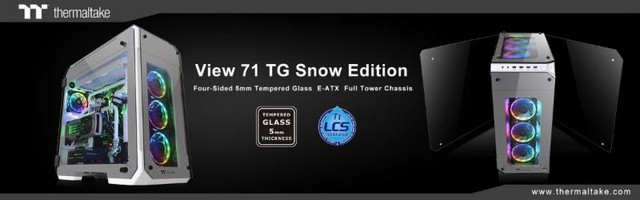 Új Thermaltake View 71 Tempered Glass Snow Edition teljes méretű toronyház